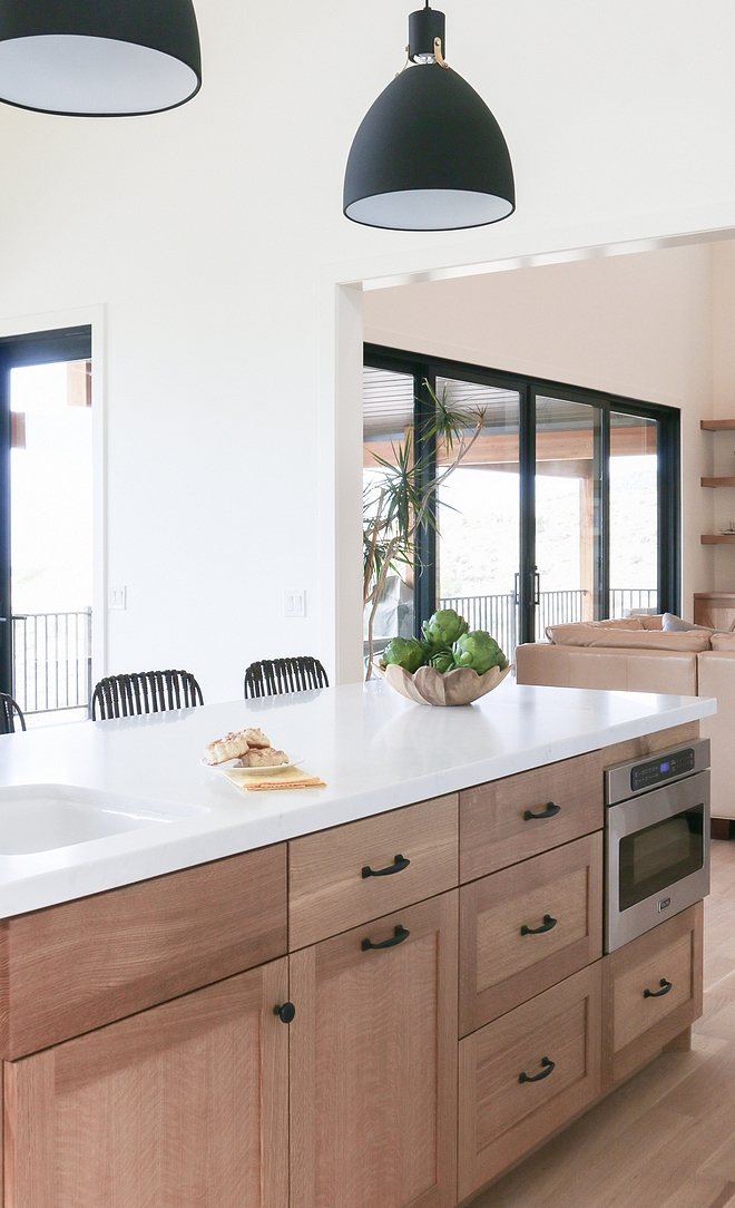 White oak Kitchen White oak Kitchhen cabinet Island, refrigerator panel, hood band, and tall pantry are White oak with a clear protective finish #Whiteoakkitchencabinet #Whiteoakcabinet