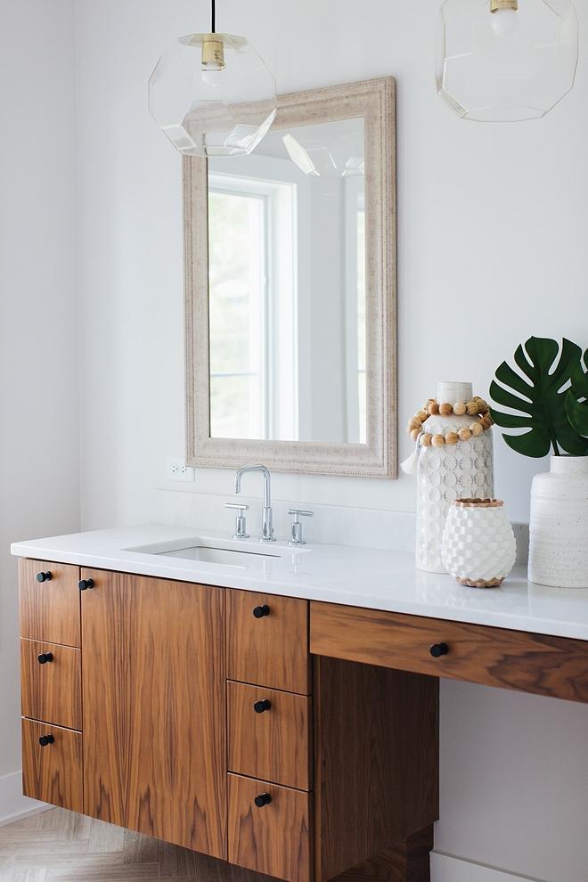 Walnut Cabinet Walnut Cabinet Walnut Cabinet with flat black hardware and white quartz countertop #WalnutCabinet