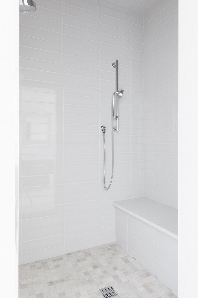 Shower tile 4x16 warm grey glossy tile #showertile #greytile #greyshower