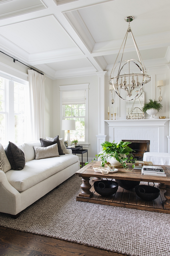 Classic Gray by Benjamin Moore Living room with trim and coffered ceiling boxes painted in Decorators White by Benjamin Moore #Benjaminmoore #paintcolors #paintcolor #Benjaminmoorepaintcolors