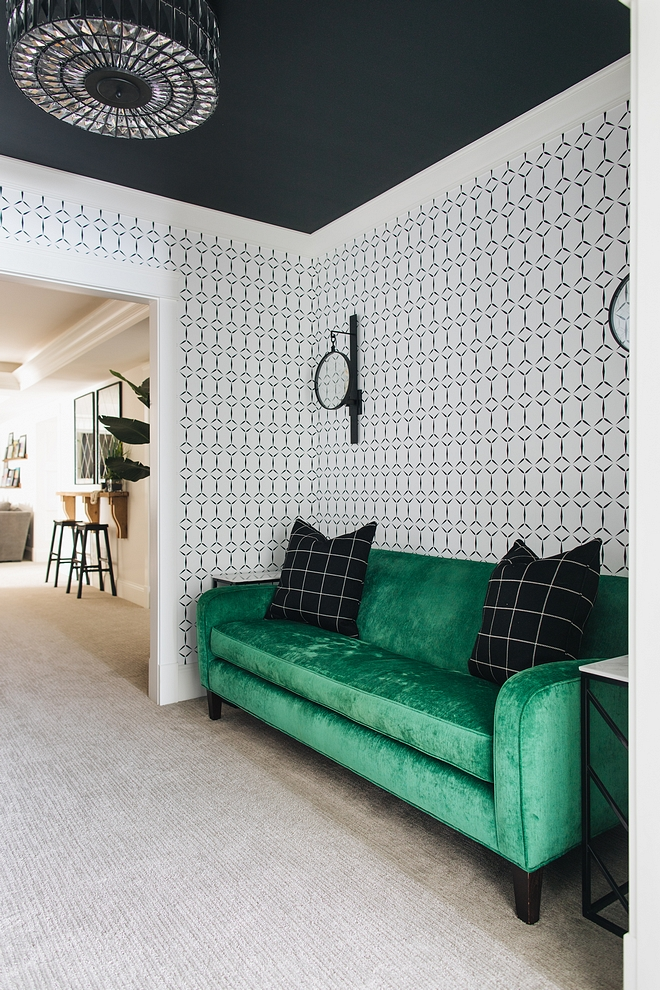 Video Game Room My son just wanted an X-box room. I was inspired by the X-box packaging and that black, white, and green look became the color scheme for the whole basement Ceiling Painted Benjamin Moore Black #VideoGameRoom