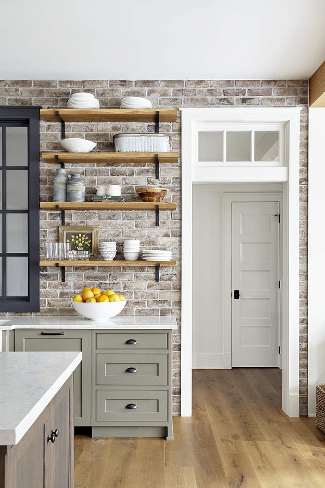 Brick Backsplash is Savannah Grey brick veneer reclaimed Reclaimed Brick Backsplash Kitchen with Reclaimed Brick Backsplash Reclaimed Brick Backsplash #ReclaimedBrickBacksplash #ReclaimedBrick #Backsplash #BrickBacksplash