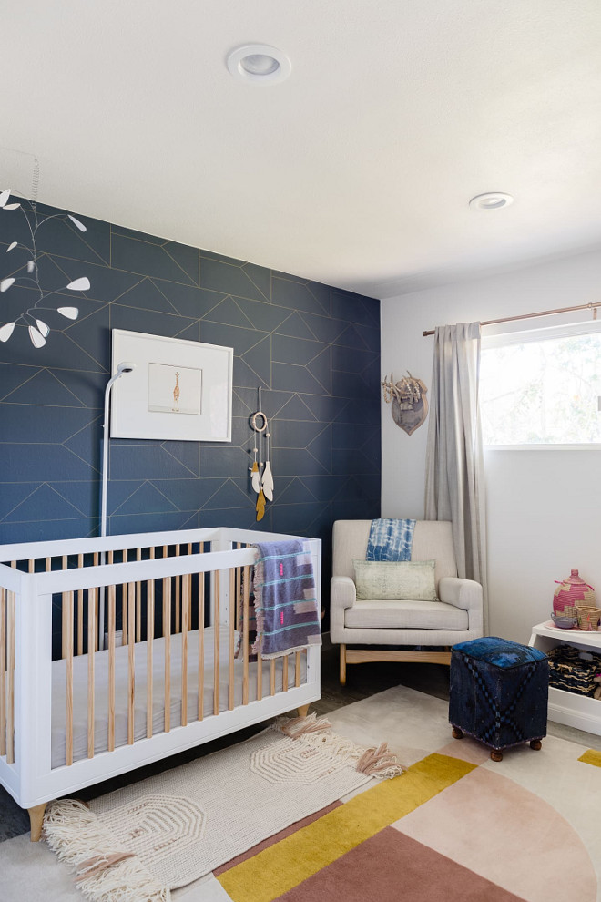 Mid-century Modern Nursery I knew I wanted to create a space that was not too pink and not too girly. I knew that I would be spending a lot of time at night in there, so I wanted the color palette to be soothing #Midcenturynursery #ModernNursery