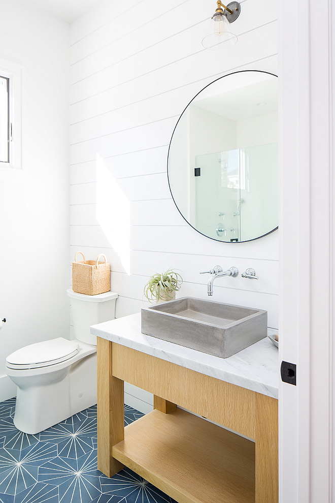Modern farmhouse bathroom with shiplap and freestanding vanity This bathroom feels very current The custom White Oak washstand features a concrete vessel sink Modern farmhouse bathroom with shiplap and freestanding vanity #Modernfarmhousebathroom bathroom #shiplap #freestandingvanity