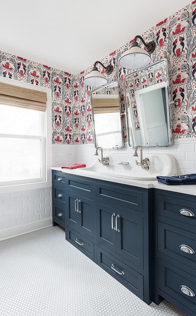Benjamin Moore Hale Navy Bathroom cabinetry paint color is Benjamin Moore Hale Navy Kids Bathroom with navy vanity Benjamin Moore Hale Navy #BenjaminMooreHaleNavy #navyvanity #navypaintcolor