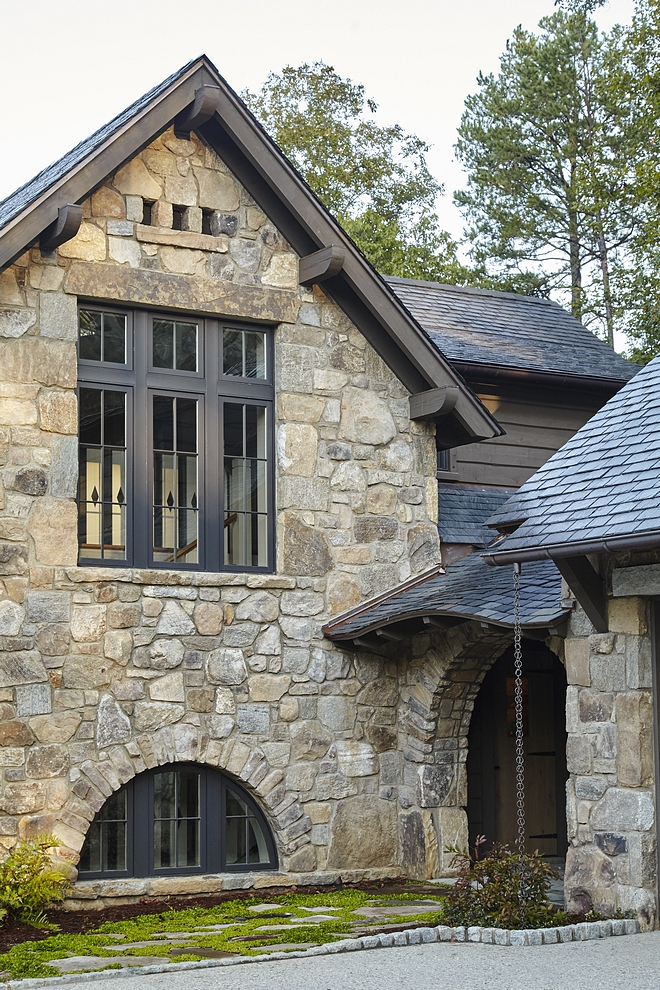 Stone exterior with Slate roof and Black windows Exterior stone is Weathered Granite Stone exterior with Slate roof and Black steel windows #Stoneexterior #stone #exterior #Slateroof #Blackwindows #Blacksteelwindows #steelwindows