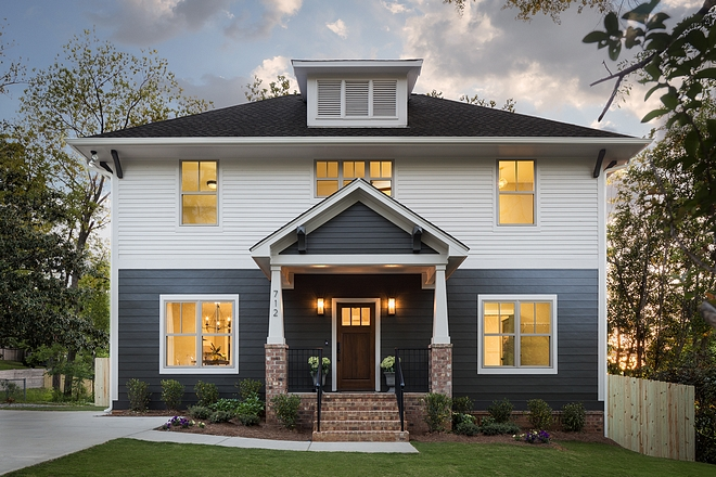 Two-Toned Exterior with Brick Accent New home with Two-Toned siding and brick columns Two-Toned Exterior New home with Two-Toned siding and brick columns #Newhome #TwoTonedsiding #siding #brickcolumns #brick exterior #brick