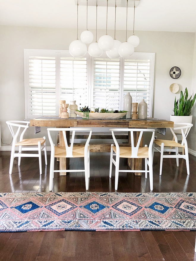 Rustic dining table Chunky wood dining table I love earthy elements and this rustic dining table is the perfect combination of form and function #rusticdiningtable #reclaimedwooddiningtable #chunkydiningtable