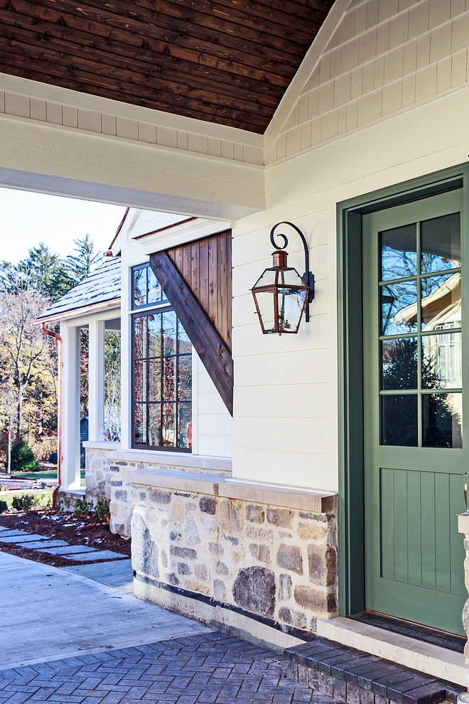 Port Cochere Door Paint Color Farrow and Ball Green Smoke Port Cochere Door Paint Color Farrow and Ball Green Smoke Wood Accents Stain Color is Miniwax Jacobean #portcochere #door #MiniwaxJacobean