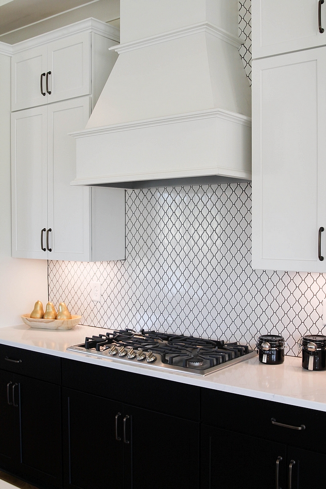 Backsplash tile is White Lantern tile with charcoal grout #kitchen #backsplash #tile #Backsplashtil #Lanterntile #grout