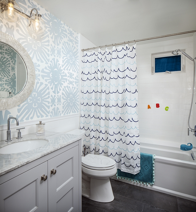 Kids Bathroom with wallpaper and subway tile wainscoting Kids Bathroom with wallpaper and subway tile wainscoting design Kids Bathroom with wallpaper and subway tile wainscoting ideas Kids Bathroom with wallpaper and subway tile wainscoting Kids Bathroom with wallpaper and subway tile wainscoting #KidsBathroom #bathrooom #wallpaper #subwaytilewainscoting
