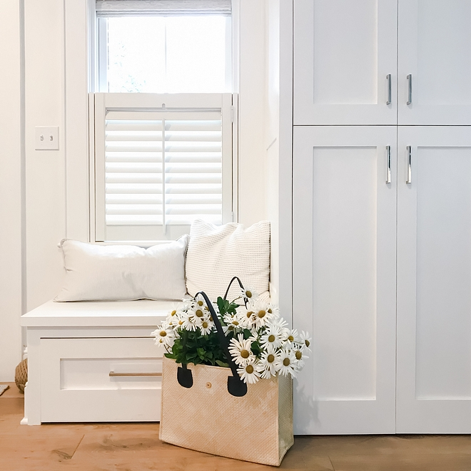 Foyer Built-in Bench A built-in bench and a tall cabinet adds storage and a place to put on your shoes and store coats Perfect for small spaces Foyer Built-in Bench #FoyerBuiltinBench #FoyerBuiltins #FoyerBench #foyer #bench #smallspaces