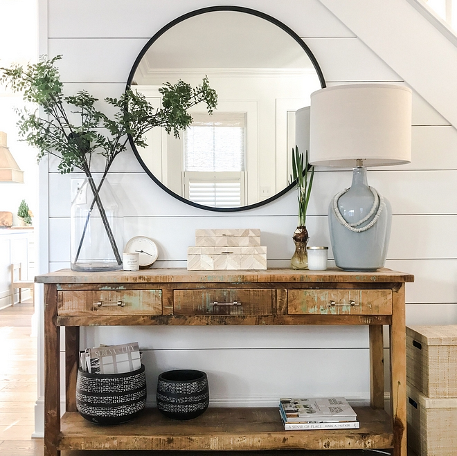Foyer Console Table Decor Shiplap Accent Wall Shiplap walls and a distressed console table with beautiful decor complements this space Foyer Console Table Decor Shiplap Accent Wall Foyer Console Table Decor Shiplap Accent Wall #Foyer #ConsoleTable #Decor #Shiplap #AccentWall #Shiplapaccentwall #foyerdecor #consoletabledeor
