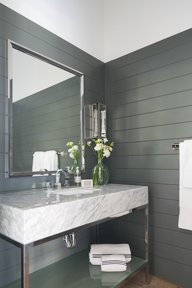 Sherwin Williams SW 7068 Grizzle Gray The powder room features T and G wainscoting painted in Sherwin Williams SW 7068 Grizzle Gray This color works perfectly with the washstand countertop #SherwinWilliamsSW7068GrizzleGray #TandG #tongueandgroove #wainscoting
