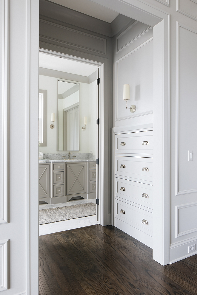 Built-in dresser Bedroom built-in dresser The master bedroom features a hallway with built-in dresser Paint color is Benjamin Moore Ozark Shadows #Built-in dresser Bedroom built-in dresser #masterbedroom #hallway #bedroomdresser #builtindresser #bedroombuiltindresser