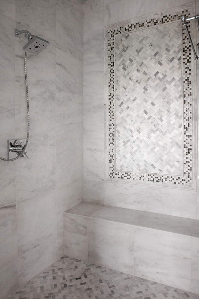 Shower Tile Master Bath Tile Bianco polished 18x18 marble with matching pencil and chair rail framing herringbone and mosaic accent tiles Shower Tile Master Bath Tile Shower Tile Master Bath Tile #ShowerTile #MasterBath #Tile