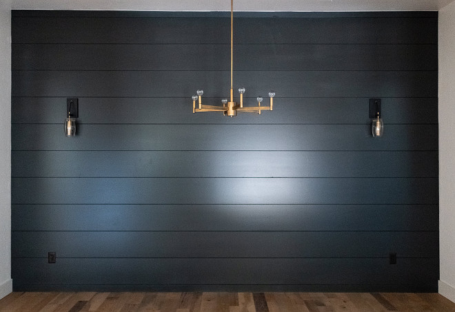 Black Shiplap Dining room with black shiplap accent wall Paint color is Sherwin Williams Iron Ore Black Shiplap #BlackShiplap #paintcolor #blackshiplapaccentwall #SherwinWilliamsIronOre