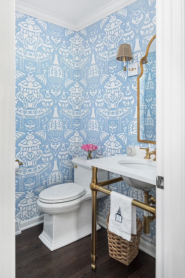 Blue and white wallpaper Bathroom featuring dark hardwood flooring, blue and white wallpaper and a brass an marble washstand #blueandwhitewallpaper #blueandwhite #wallpaper #bathroom