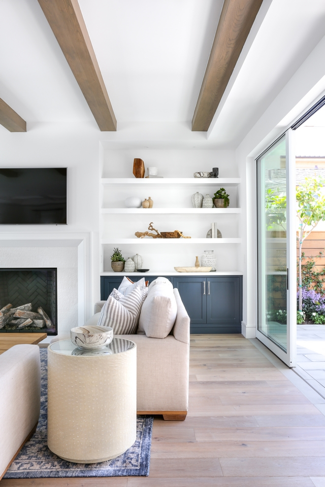 Living room ceiling beams and custom built-ins with floating shelves and cabinet Beautiful Living room ceiling beams and custom built-ins with floating shelves and cabinet Living room ceiling beams and custom built-ins with floating shelves and cabinet #Livingroom #ceiling #beams #builtins #floatingshelves #cabinet