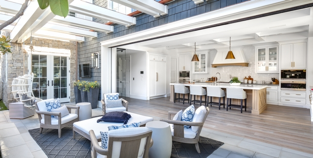 Patio off kitchen I love the pergola, the privacy and the low-maintenance concrete flooring, not to mention the gorgeous decor #patio #patiodecor #patioideas #patiofurniture