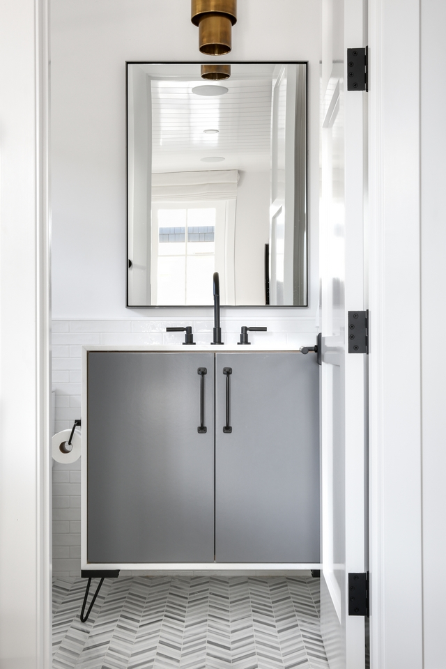 Metal Hairpin leg bathroom vanity Cabinetry Frameless, Flat Panel Cabinet - Paint Grade- Dunn Edwards DE 6355 Tarnished Silver in semi-gloss. - Wrapped Countertop - Beveled Edge. Vanity also features Metal Hairpin legs #smallvanity #vanity #metalhairpinlegs #MetalHairpinlegvanity #bathroomvanity