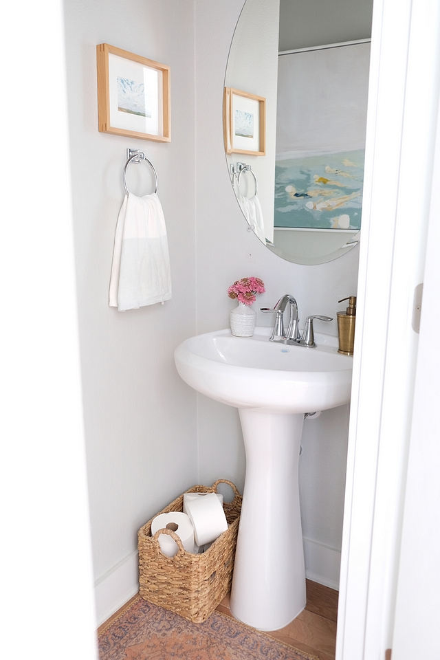 Small powder room with pedestal sink