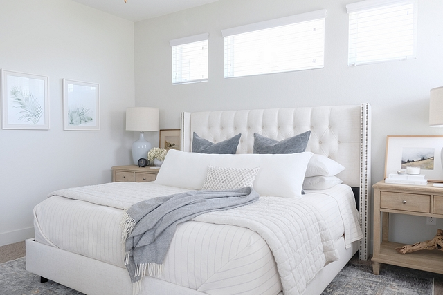 Bedroom Color Scheme I wanted to keep this room clean and simple, while still giving it enough layers to feel cozy. I stuck with two main colors - a blue/grey and cream - and brought things to life with lots of different textures #bedroom #colorscheme