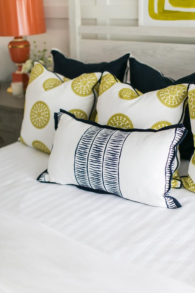 """Bed Pillows Custom Pillows Pillows are custom. Fabric: Schumacher Nicholson, Citrine. Designer's Guild Williams Yeoward, Kravet 33042/323 22"""" pillow #pillows #bedding #bedpillows"""
