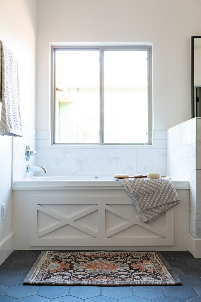 Tub Apron Paneling The tub apron features custom x inset paneling Tub Apron Paneling Ideas Modern Farmhouse Tub Apron Paneling Modern Farmhouse Tub Apron Paneling #ModernFarmhouse #Farmhouse #TubApron #TubApronPaneling