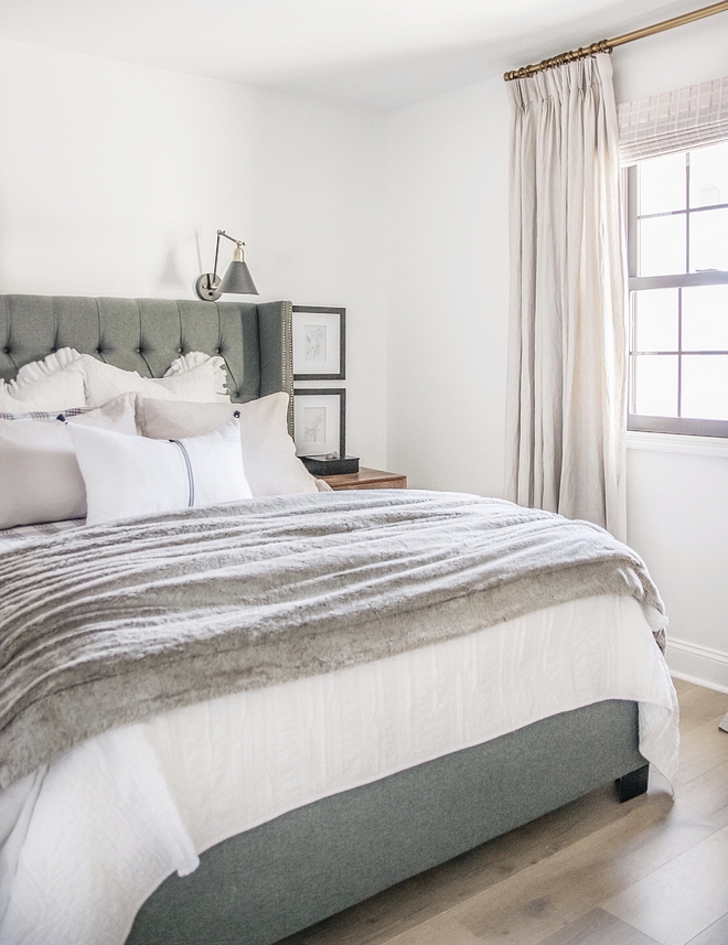 Guest Bedroom The guest bedroom is very welcoming and comfortable. I am loving the color palette and the soft textures found in this space #guesbedroom