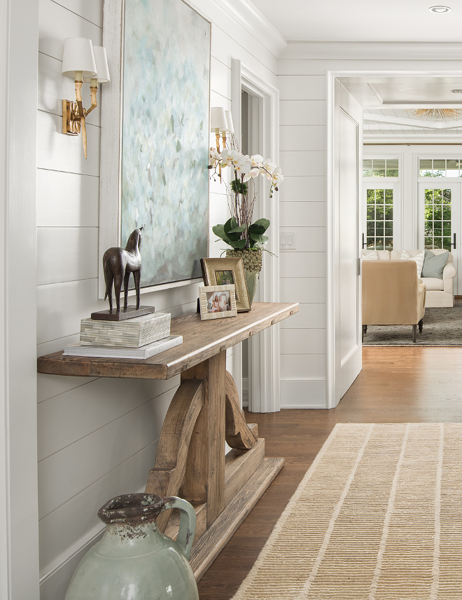Benjamin Moore Chantilly Lace Foyer with shiplap walls paint color Benjamin Moore Chantilly Lace Benjamin Moore Chantilly Lace Benjamin Moore Chantilly Lace #BenjaminMooreChantillyLace