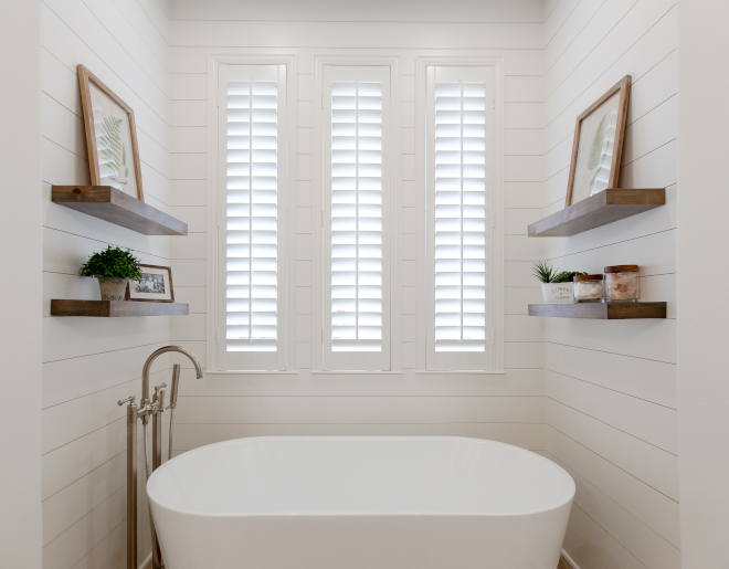 Master Batroom Window Treatment Windows feature Plantation shutters, for a seamless look with the shiplap #MasterBatroom #WindowTreatment #Windows #Plantationshutters #shiplap