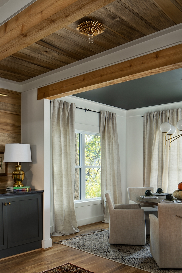 Shiplap ceiling The ceiling between the kitchen and dining room features a pair of reclaimed beams and shiplap in between Reclaimed Shiplap ceiling Shiplap ceiling #Shiplapceiling #reclaimedShiplapceiling #beams #reclaimedbeams
