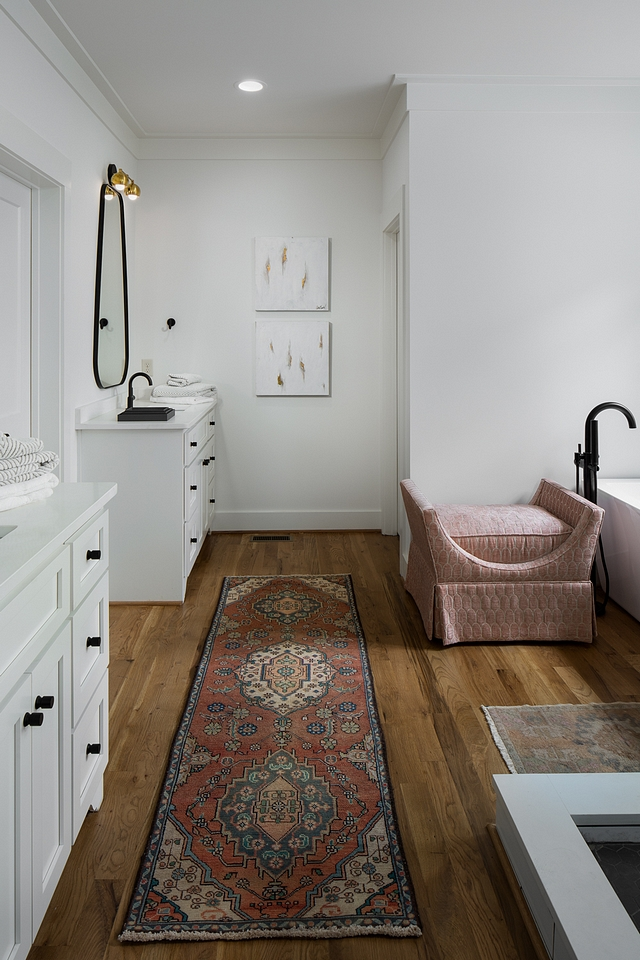"Hardwood flooring in bathroom The master bathroom features hardwood flooring Hardwood Flooring Custom White Oak 3.25"" wide, finished on site #bathroomhardwoodflooring #bathroom #HardwoodFlooring"