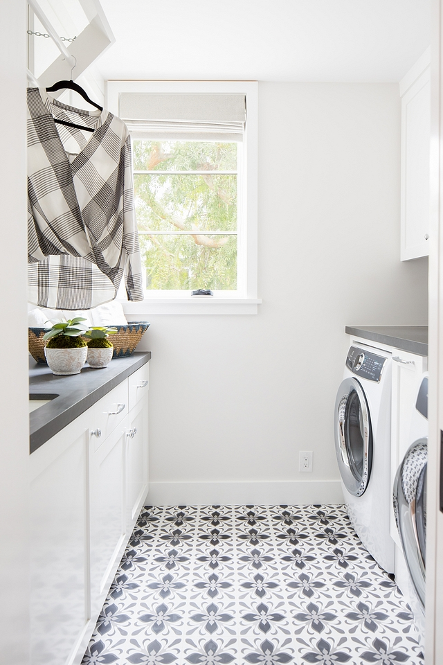 White laundry room with dark black leathered quartz countertop and black and white cement tile White laundry room with dark black leathered quartz countertop and black and white cement tile White laundry room with dark black leathered quartz countertop and black and white cement tile White laundry room with dark black leathered quartz countertop and black and white cement tile #Whitelaundryroom #quartz #countertop #blackandwhite #blackandwhitetile #cementtile
