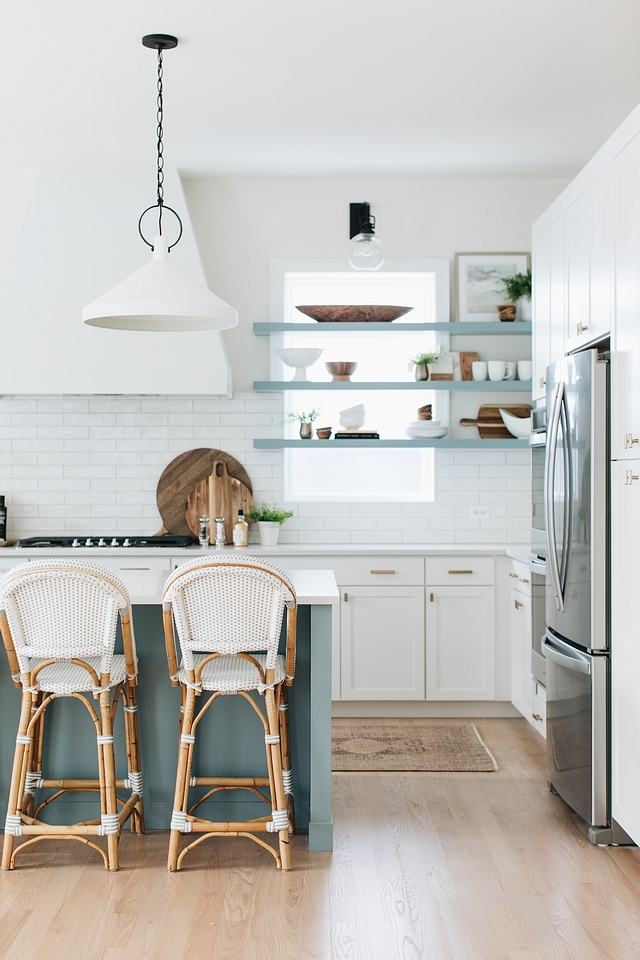 Blue color on Island and floating shelves is Benjamin Moore James River Gray