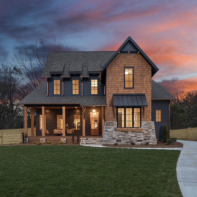 Modern Farmhouse with navy siding Cedar shingles and stacked stone Home Exterior Modern Farmhouse with navy siding Cedar shingles and stacked stone #home #exterior #ModernFarmhouse #navysiding #Cedarshingles #stackedstone