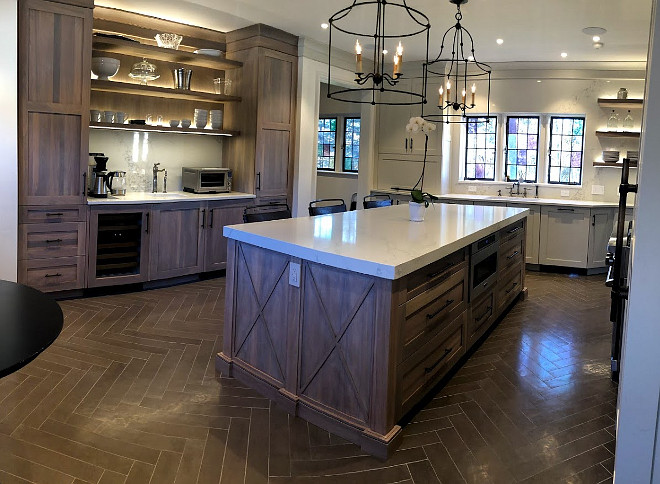 with grey stained oak cabinets