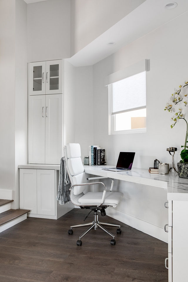 The landing area features a functional home office homework space Cabinet paint color is Sherwin Williams Pure White #SherwinWilliamsPureWhite #homeworkzone #homeoffice #homeworkspace