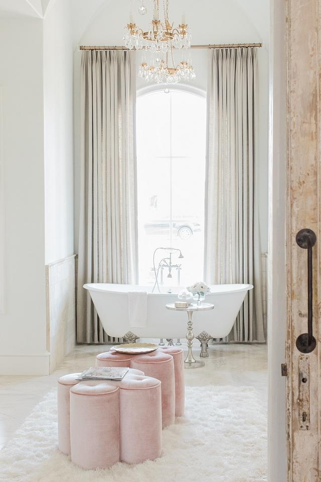 French Bathroom French Bathroom Design French Bathroom with linen draperies and custom velvet ottomans French Bathroom French Bathroom Design French Bathroom French Bathroom French Bathroom Design French Bathroom #FrenchBathroom #FrenchBathroomDesign #Bathroom