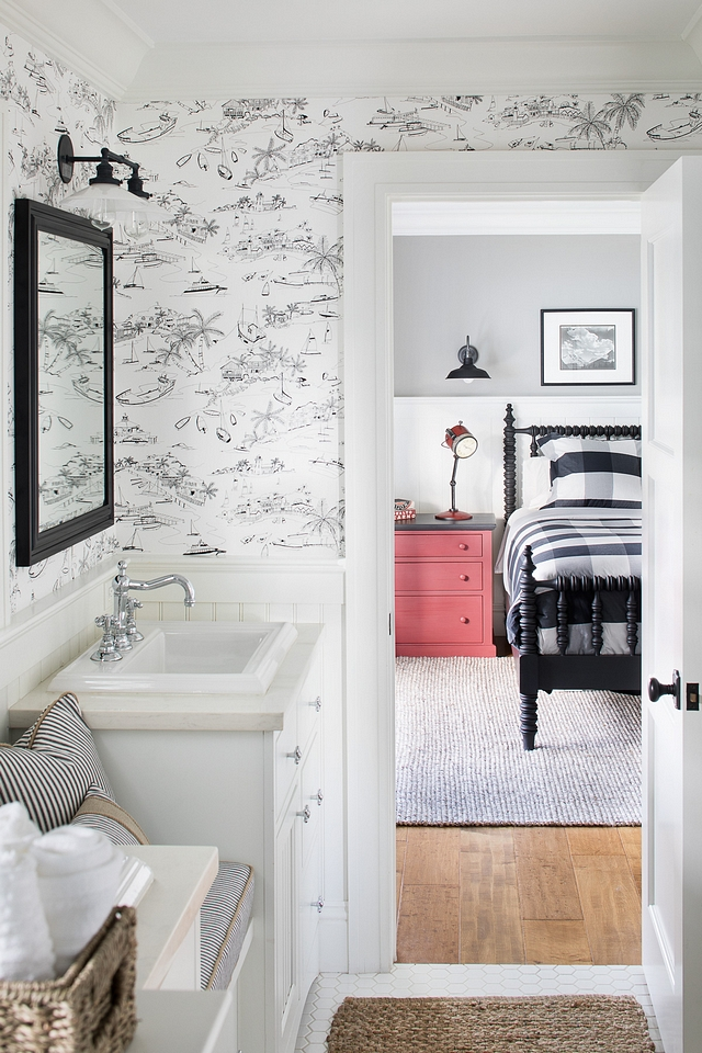 Jack and Jill Bathroom featuring two vanities with window seat and a black and white wallpaper Wallpaper is Thibaut Wallpaper T5758 Bahamas Jack and Jill Bathroom Jack and Jill Bathroom Jack and Jill Bathroom #JackandJill #JackandJillBathroom