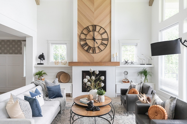 """Chevron Fireplace Fireplace features 6"""" tongue and groove cedar and stained the rough-edge backside and installed it in a chevron pattern Chevron Fireplace Fireplace #ChevronFireplace #Fireplace #Chevron #Fireplaces"""