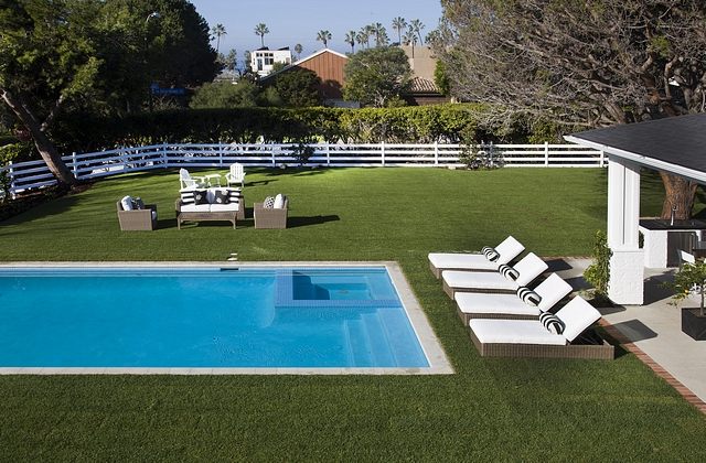 Farmhouse Backyard Farmhouse Backyard with pool Farmhouse Backyard with white fence and pool Farmhouse Backyard #FarmhouseBackyard #Farmhouse #Backyard