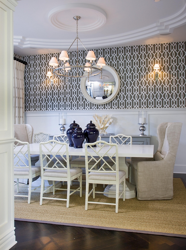 Dining Room wallpaper above wainscoting Dining Room wallpaper above trellis wainscoting Classic Dining Room wallpaper above wainscoting Dining Room wallpaper above trellis wainscoting #DiningRoom #wallpaper #wainscoting #DiningRoomwallpaper #trellis #diningroomwainscoting