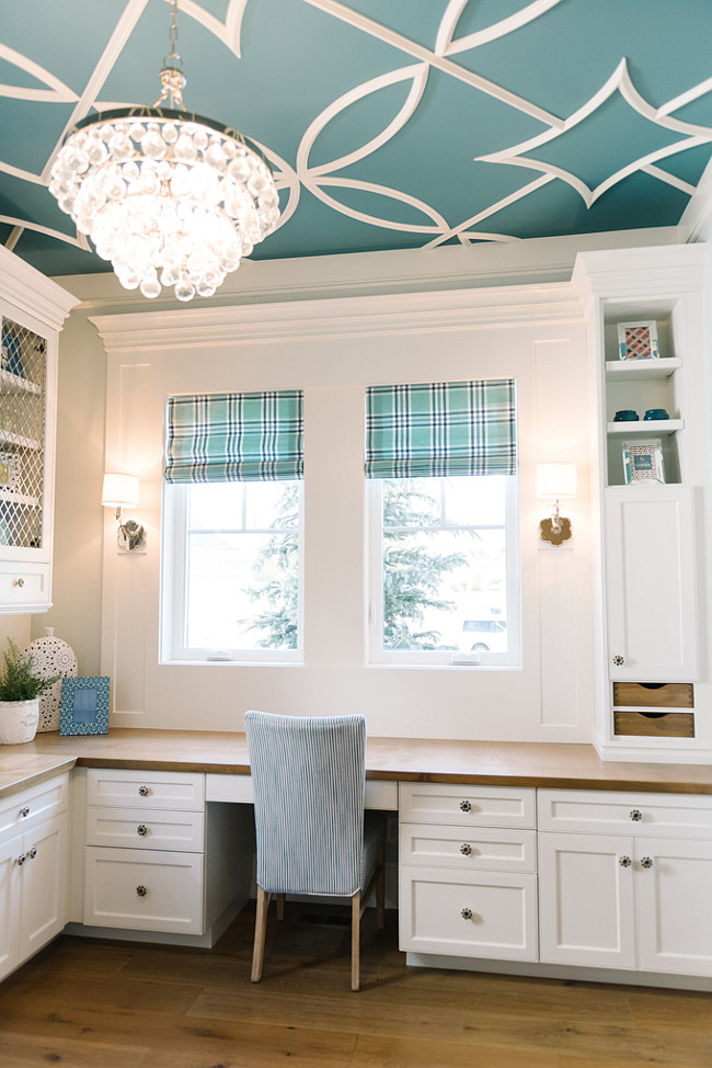 Wall and Ceiling Paint Color Ideas. Wall paint color is Benjamin Moore Cool Breeze CSP-665. Ceiling Paint Color is Benjamin Moore Baltic Sea CSP-680 with overlay pattern in Benjamin Moore Dove White. #PaintColor #Wall #Ceiling Four Chairs Furniture.