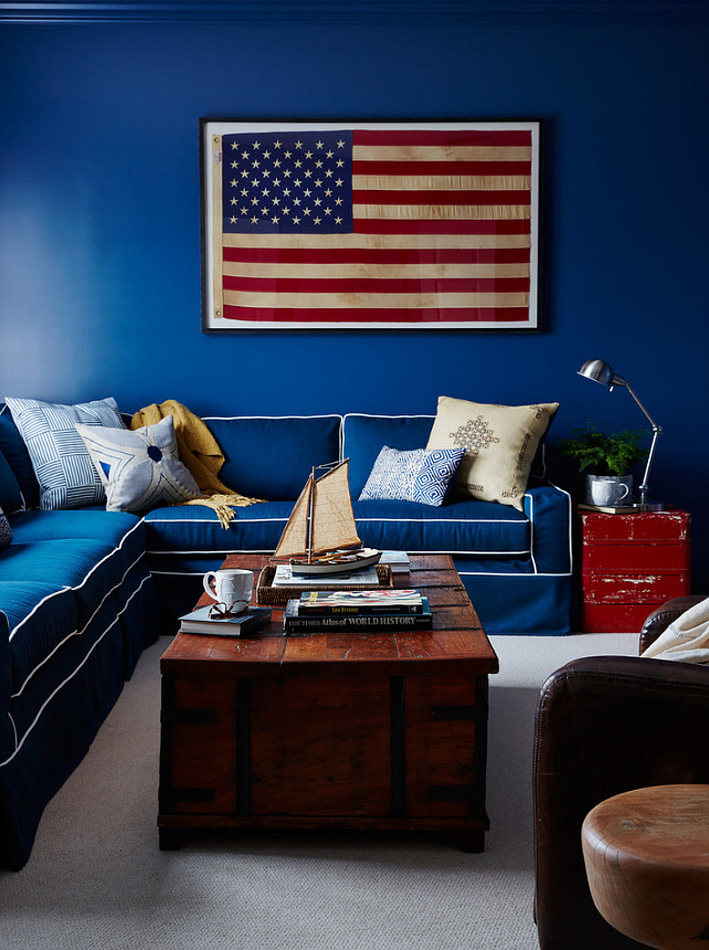 Living Room With Blue Americana Home Decor Front Door