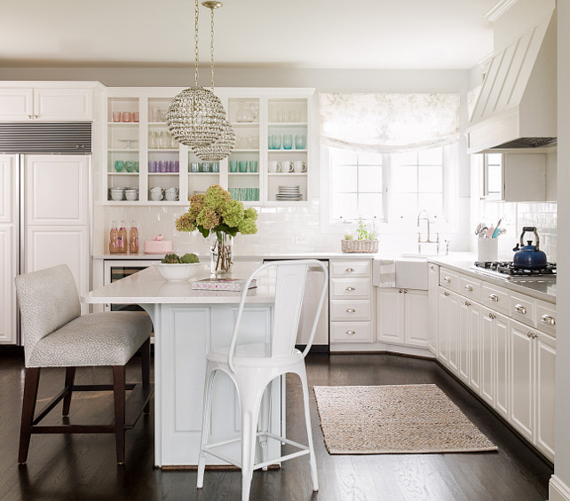 White L Shaped Kitchen Island
