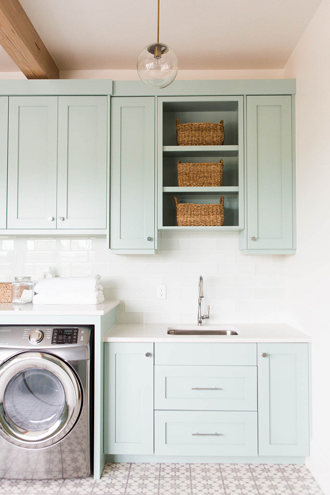 Coastal Blue Laundry Room Design - Home Bunch Interior ... on Laundry Cabinets Ideas  id=91259