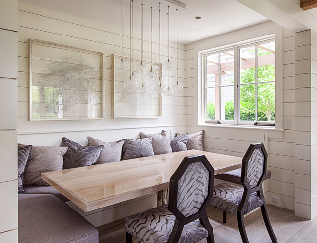 Plank Wall Ideas. Plank Wall Interiors. Plank Wall Dimensions. Plank Wall Paint Color is Benjamin Moore White Dove. #PlankWall