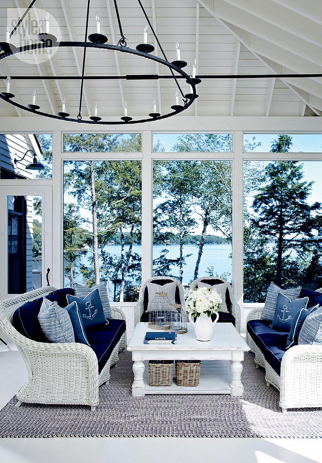 Lake Muskoka Cottage with Coastal Interiors - Home Bunch ... on Nautical Patio Ideas  id=82910